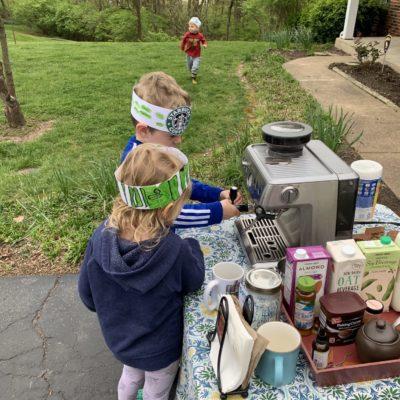 Children making coffee