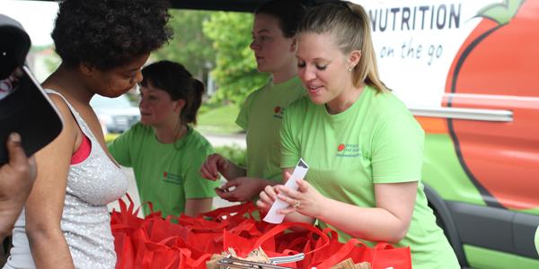 Volunteers at food drive