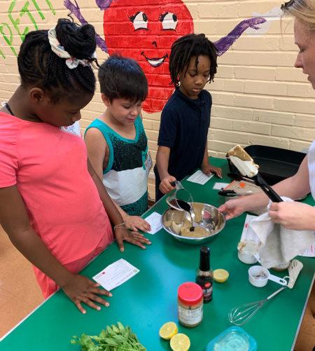 Children making food at school